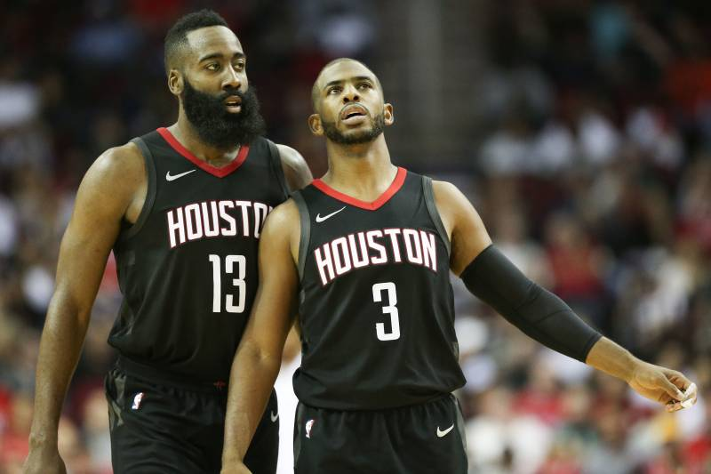 e20d6fbd9f67 Houston Rockets guard Chris Paul (3) and guard James Harden talk during a  timeout