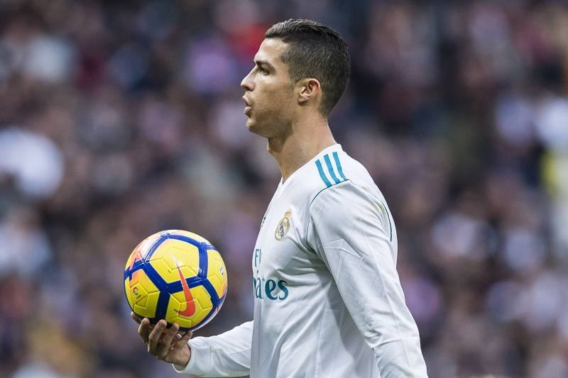 MADRID, SPAIN - DECEMBER 09: Cristiano Ronaldo of Real Madrid reacts during the La Liga 2017-18 match between Real Madrid and Sevilla FC at Santiago Bernabeu Stadium on 09 December 2017 in Madrid, Spain. (Photo by Power Sport Images/Getty Images)
