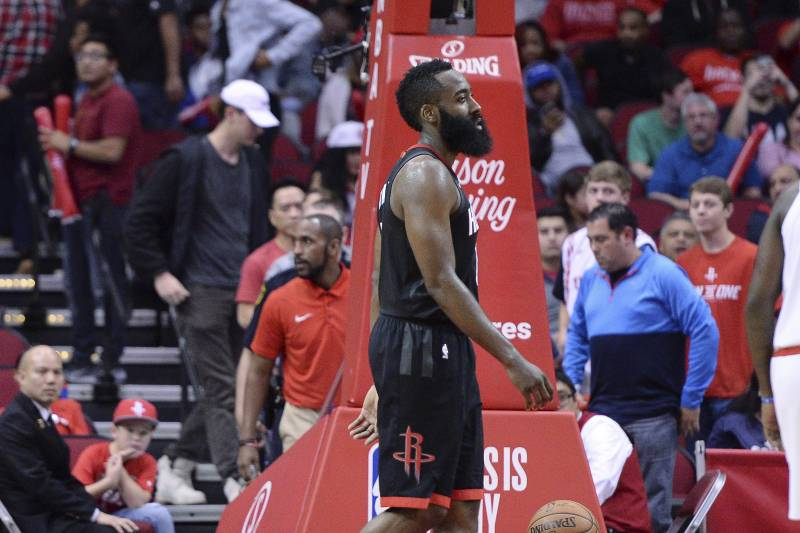 f936f977e32 Houston Rockets guard James Harden (13) walks to the bench after fouling  out during