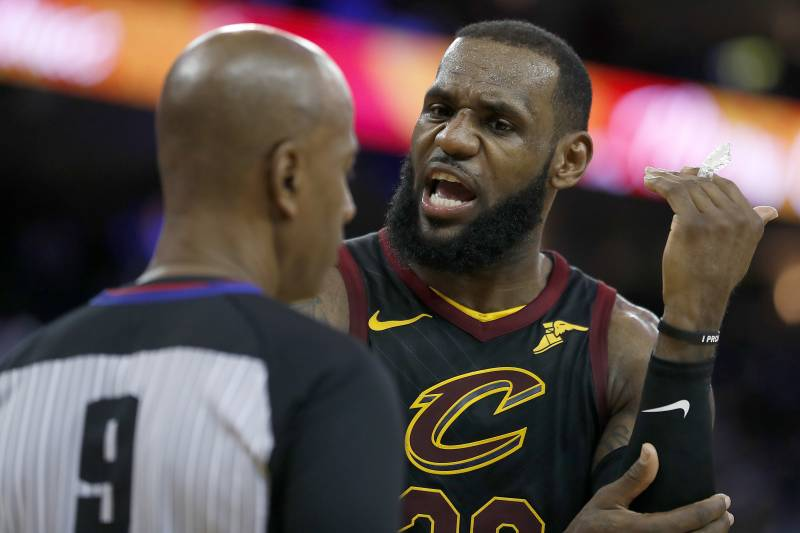7363206b239c Cleveland Cavaliers forward LeBron James (23) argues with referee Derrick  Stafford (9)