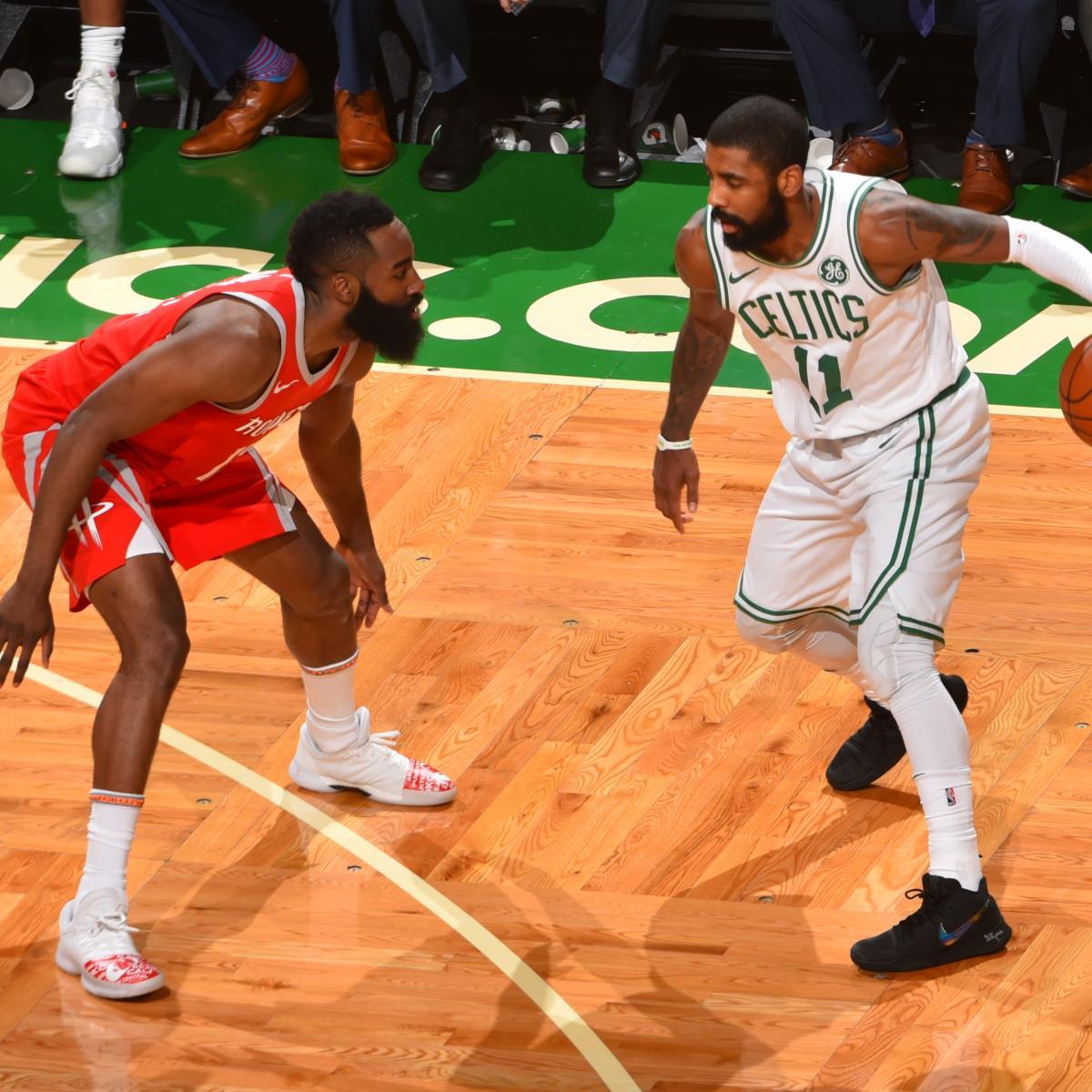 James Harden Offensive Fouls Hand Kyrie Irving, Celtics ...