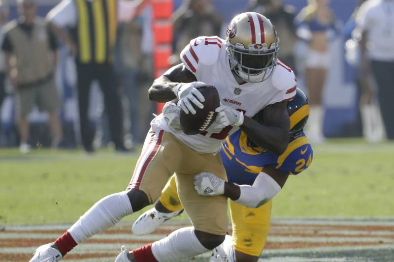19fb8367dbe Marquise Goodwin Suffers Concussion vs. Rams on Vicious Blake ...
