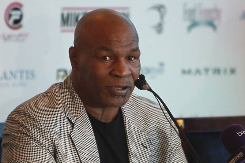Former world heavyweight boxing champion Mike Tyson gives a press conference in Dubai in which he announced the opening of an academy named after him in the UAE, on May 4, 2017. / AFP PHOTO / Stringer (Photo credit should read STRINGER/AFP/Getty Images)