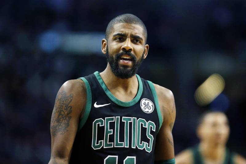 1fe6de54f200 Boston Celtics  Kyrie Irving reacts during the second quarter of an NBA  basketball game against