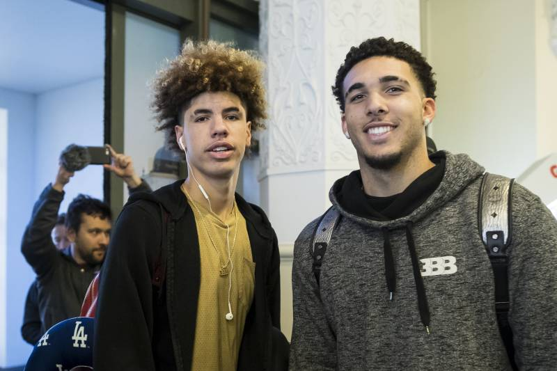 be529f1182d American basketball players LiAngelo Ball, right, and his brother, LaMelo,  poses for