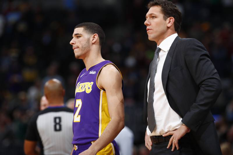 636e31c5520 Los Angeles Lakers guard Lonzo Ball (2) and Los Angeles Lakers head coach  Luke