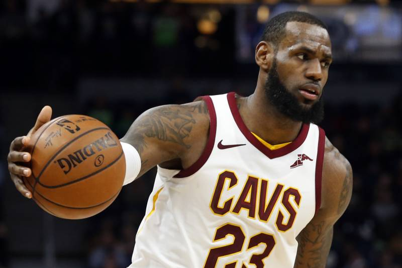 63905ba55 Cleveland Cavaliers  LeBron James plays against the Minnesota Timberwolves  in the second half of an