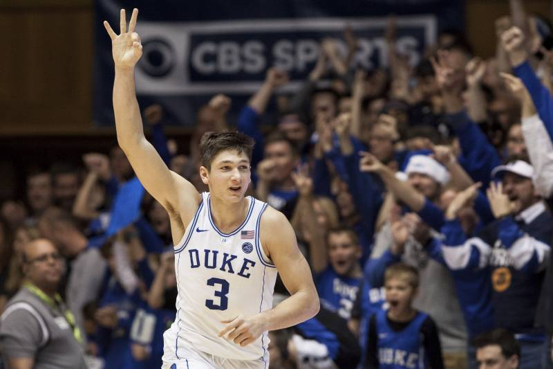 29733d523 Duke s Grayson Allen (3) celebrates after hitting a three-pointer during the  second