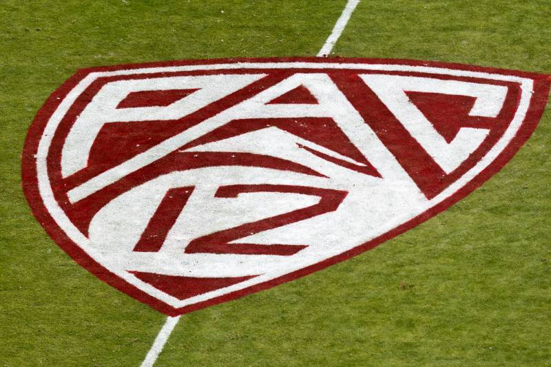 PALO ALTO, CA - OCTOBER 06: Aerial view of the Pac-12 logo painted on the field before the game between the Stanford Cardinal and the Arizona Wildcats at Stanford Stadium on October 6, 2012 in Palo Alto, California. The Stanford Cardinal defeated the Arizona Wildcats 54-48 in overtime. (Photo by Jason O. Watson/Getty Images)
