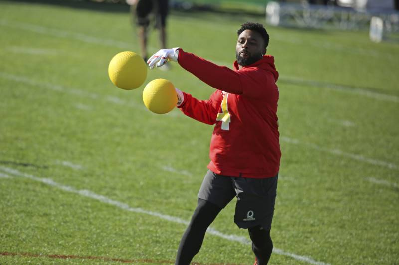 AFC receiver Jarvis Landry of the Miami Dolphins competes in the Epic Pro  Dodgeball event during 4c70b4bda