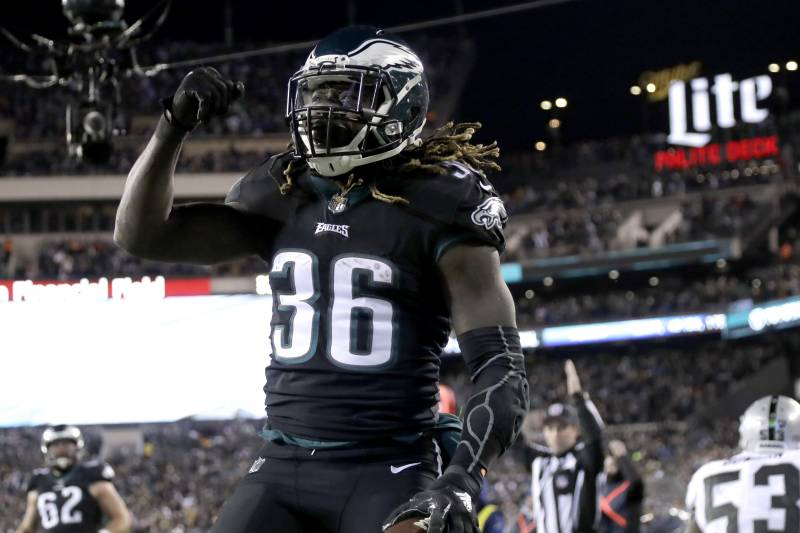 bdfdf81b40e Philadelphia Eagles' Jay Ajayi celebrates after scoring touchdown during  the first half of an NFL