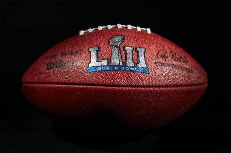 5ac7533e69a An official ball for the NFL Super Bowl LII football game from the Wilson  Sporting Goods