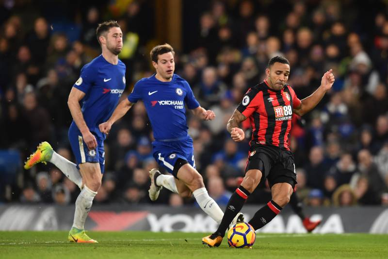 Epl table 2018 premier league standings after wednesdays week 25 bournemouths english striker callum wilson r scores the teams first goal during the english stopboris Choice Image