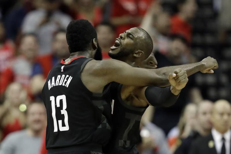 ef764f0a1a4c Houston Rockets  James Harden (13) celebrates with Chris Paul after making  a basket
