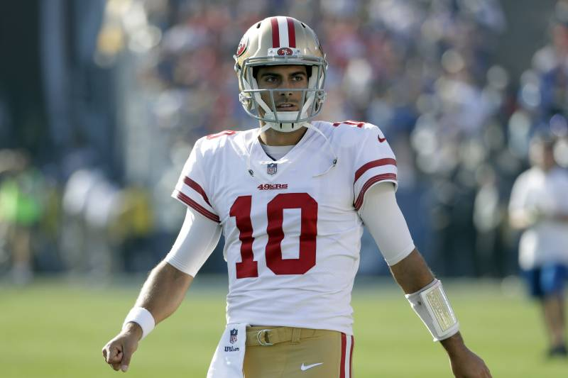 e25a49d12 San Francisco 49ers quarterback Jimmy Garoppolo against the Los Angeles  Rams during the first half of