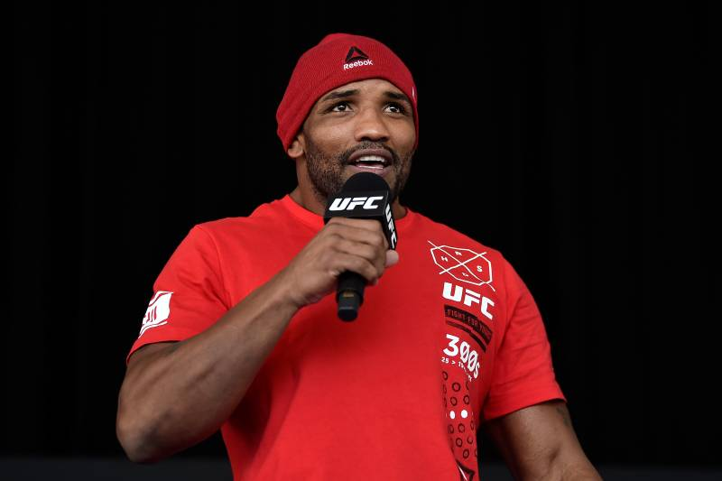 PERTH, AUSTRALIA - FEBRUARY 09: UFC middleweight Yoel Romero of Cuba holds an open workout for fans and media during the UFC 221 Open Workouts at Elizabeth Quay on February 9, 2018 in Perth, Australia. (Photo by Jeff Bottari/Zuffa LLC/Zuffa LLC via Getty Images)