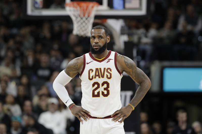 940c88eb18b1 Cleveland Cavaliers forward LeBron James (23) waits for play to resume  during the first