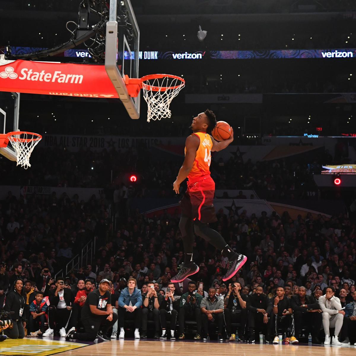 separation shoes 7c12f 4b967 Donovan Mitchell Wins 2018 NBA Slam Dunk Contest: Full ...