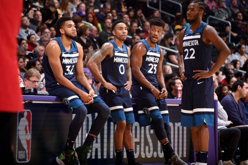 Los Angeles Ca December Five Karl Anthony Towns Two Jeff Teague