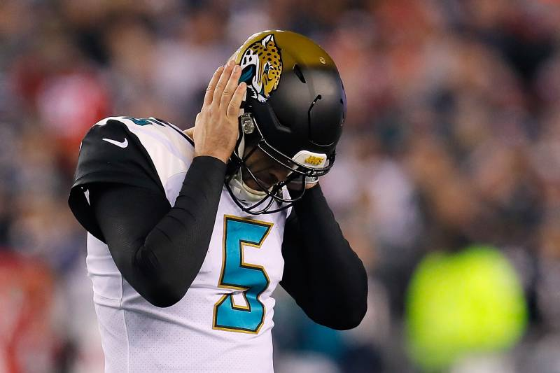 FOXBOROUGH, MA - JANUARY 21:  Blake Bortles #5 of the Jacksonville Jaguars reacts in the fourth quarter during the AFC Championship Game against the New England Patriots at Gillette Stadium on January 21, 2018 in Foxborough, Massachusetts.  (Photo by Kevin C. Cox/Getty Images)
