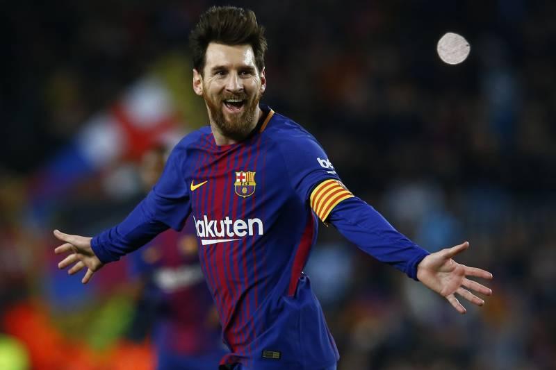 dedac6439 FC Barcelona s Lionel Messi celebrates after scoring during the Spanish La  Liga soccer match between FC