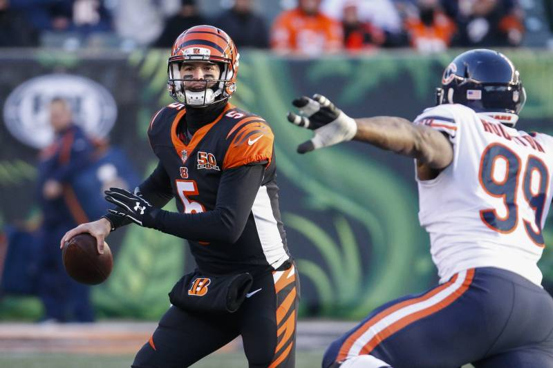 Cincinnati Bengals Quarterback Aj Mccarron Lima Looks To Pass Under Pressure From Chicago Bears
