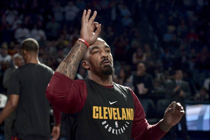 0c8d241b6e06 Cleveland Cavaliers guard JR Smith gestures during player introductions  before an NBA basketball game against the