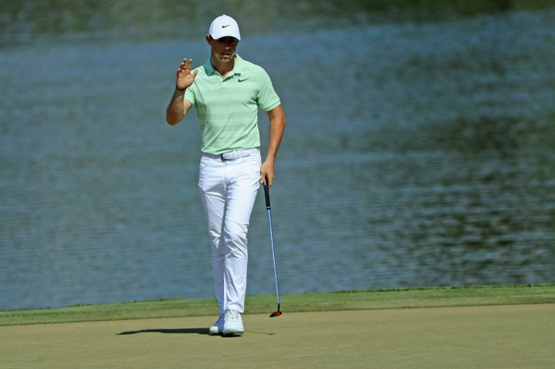 ORLANDO, FL - MARCH 18: Rory McIlroy of Northern Ireland reacts to his birdie