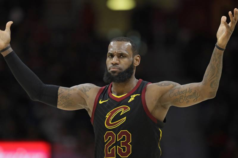 Cleveland Cavaliers  LeBron James reacts in the second half of an NBA  basketball game against 498d918a9