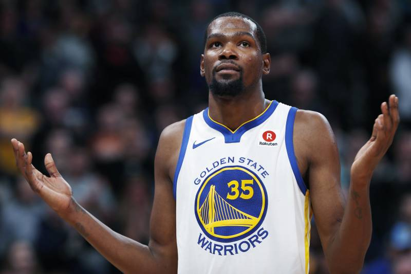 574e6dc4b492 Golden State Warriors forward Kevin Durant reacts to calls from fans at the  close of the