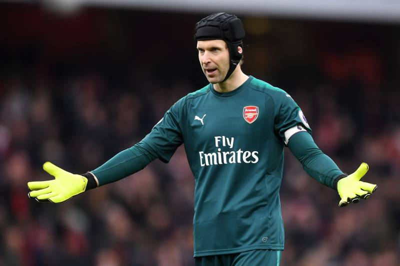 LONDON, ENGLAND - MARCH 11:  Petr Cech of Arsenal celebrates after the Premier League match between Arsenal and Watford at Emirates Stadium on March 11, 2018 in London, England. Petr Cech of Arsenal reached his 200th clean sheet.  (Photo by Michael Regan/Getty Images)