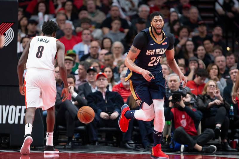 964a11cb2fc8 New Orleans Pelicans forward Anthony Davis reacts after a score against the  Portland Trail Blazers during