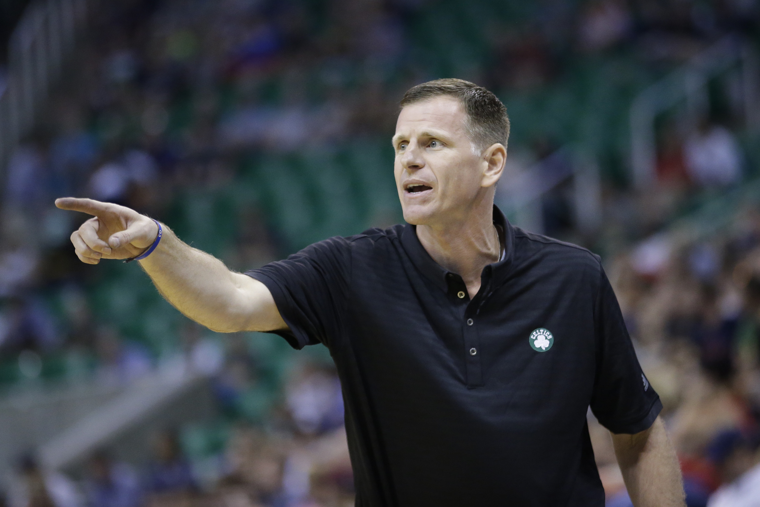 Jay Larranaga coaches in a game during his time as a Celtics assistant coach