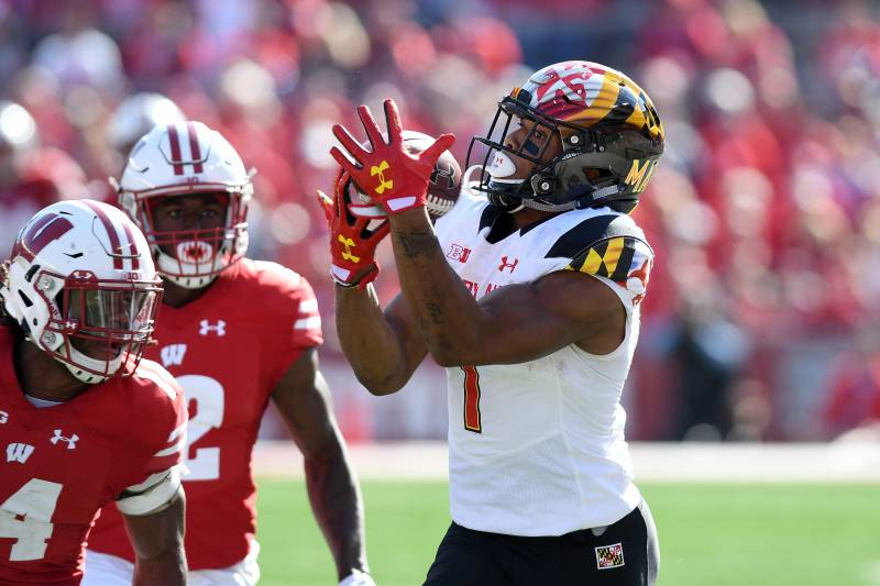 b6e7cf833f3 MADISON, WI - OCTOBER 21: D.J. Moore #1 of the Maryland Terrapins makes