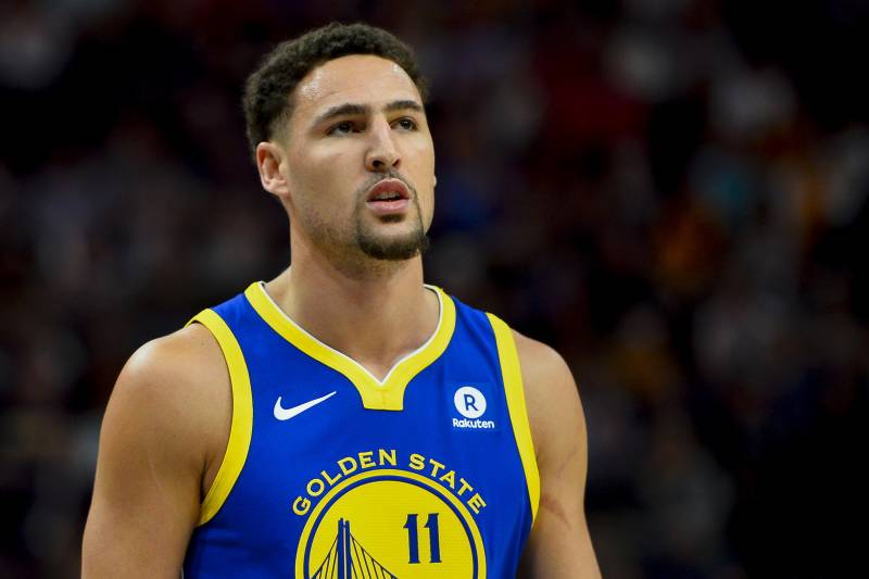 d62b64639017 Golden State Warriors guard Klay Thompson (11) looks on in the first half of