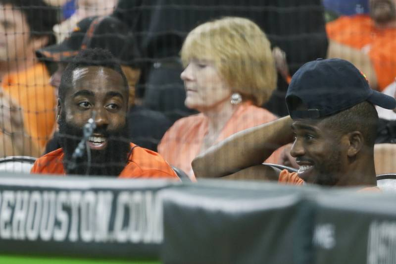 59a7730c06d Houston Rockets James Harden and Chris Paul have some fun during the fourth  inning of Game