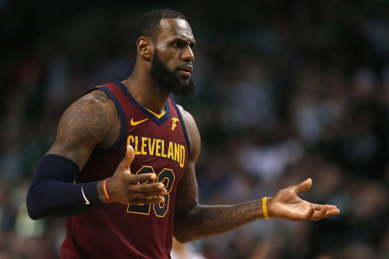 Cleveland Cavaliers forward LeBron James appeals to an official during Game  1 of the NBA basketball ea270cfad
