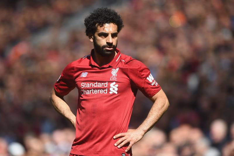 dfab92439ae LIVERPOOL, ENGLAND - MAY 13: Mohamed Salah of Liverpool in action during  the Premier