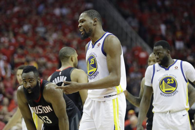 d38f4f06fca6 Golden State Warriors forward Kevin Durant (35) reacts to a call during the  second