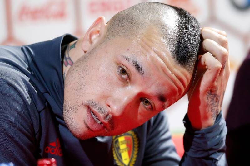 8b35c48c94f Belgium s Radja Nainggolan speaks during a press conference after a  training session of Belgian national soccer