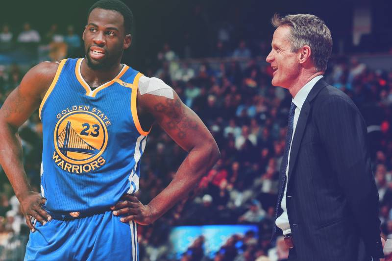 Golden State Warriors head coach Steve Kerr talks with forward Draymond  Green (23) during 386d8879d