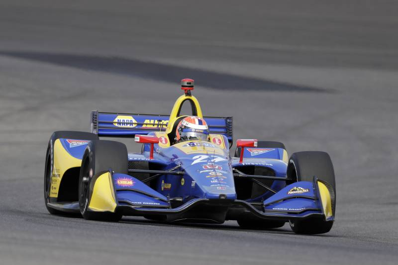 Alexander Rossi Drives During A Practice Session For The Indycar Grand Prix Auto Race At Indianapolis