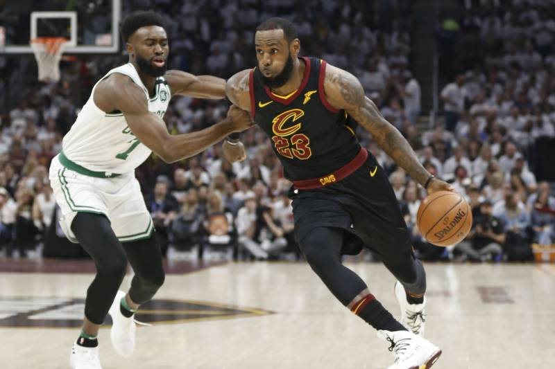 5107234a950 Cleveland Cavaliers  LeBron James (23) drives past Boston Celtics  Jaylen  Brown (