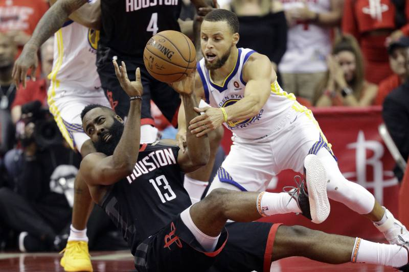 fc73a5772481 Houston Rockets guard James Harden (13) and Golden State Warriors guard  Stephen Curry (