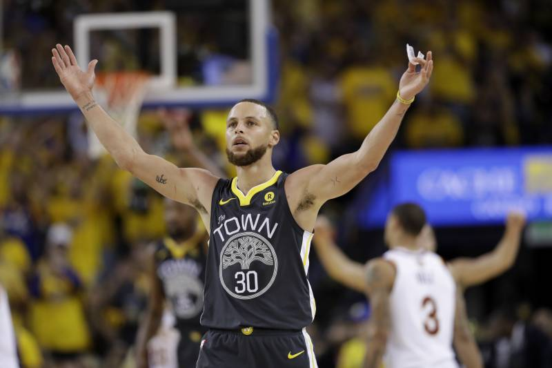 a75225be Golden State Warriors guard Stephen Curry (30) celebrates during the second  half of Game