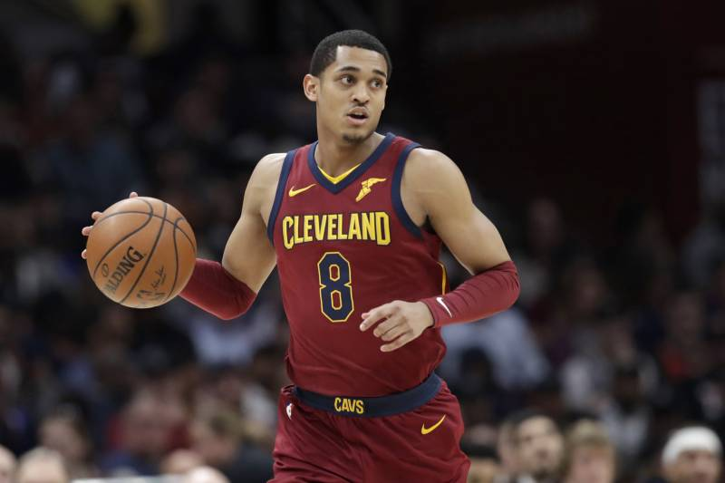 f80eb95bdd8 Cleveland Cavaliers' Jordan Clarkson drives in the first half of an NBA  basketball game against