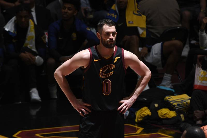 c1d5e1b8d42 CLEVELAND, OH - JUNE 8: Kevin Love #0 of the Cleveland Cavaliers looks