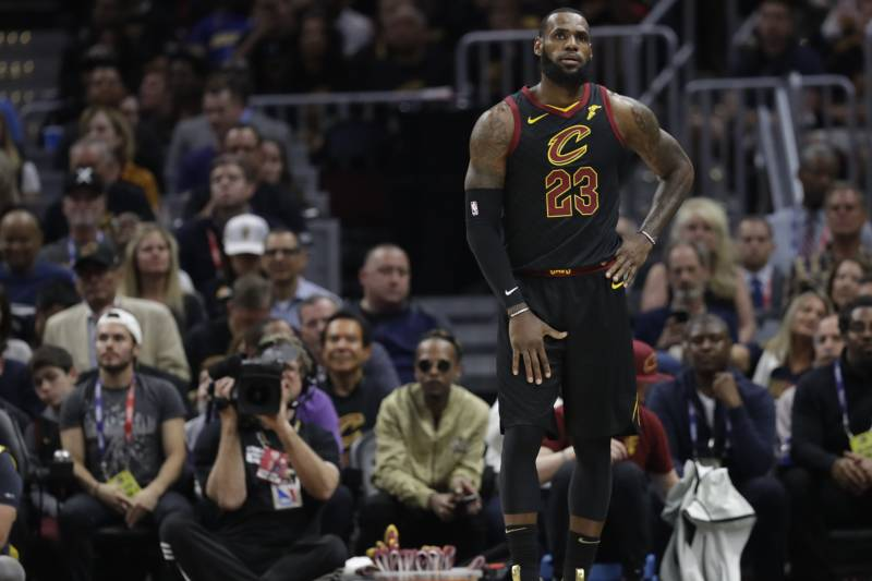 49d3da9fe12 Cleveland Cavaliers  LeBron James in action in the first half of Game 4 of  basketball s