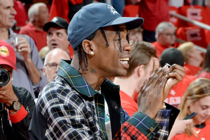 3a99b1608564 HOUSTON, TX - MAY 28: Travis Scott attends the game between the Golden State