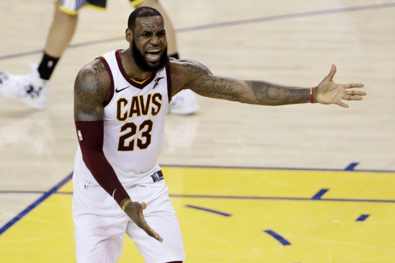 b2d4afde6a3 Cleveland Cavaliers forward LeBron James (23) reacts during the second half  of Game 2